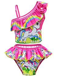 abordables -Enfants Bébé Fille Actif Le style mignon Unicorn Imprimé Noeud Manches courtes Maillot de Bain Rose Claire