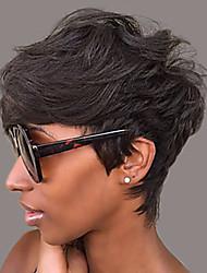 cheap -Human Hair Wig Short Natural Wave Deep Wave Layered Haircut Asymmetrical Side Part Black Women Easy dressing Fashion Capless Burmese Hair Unisex Natural Black 6 inch