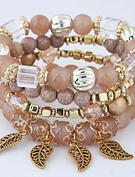 cheap -4pcs Women's Bead Bracelet Bracelet Pendant Bracelet Layered Leaf Vintage European Ethnic Fashion Acrylic Bracelet Jewelry Red / Blue / Pink For Party Gift Daily Street Holiday