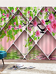 cheap -3D Digital Printing Contemporary Privacy Two Panels Curtain for Garden Living Room Decorative   Curtains