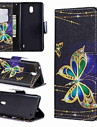 cheap -Case For Nokia Nokia 8 / Nokia 7.1 / Nokia 5.1 Wallet / Card Holder / Shockproof Full Body Cases Butterfly / Cartoon Hard PU Leather