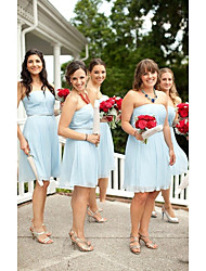 cheap -A-Line Strapless Short / Mini Chiffon Bridesmaid Dress with Ruching