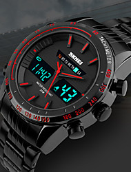 cheap -SKMEI Men's Steel Band Watches Japanese Digital Stainless Steel Black 30 m Water Resistant / Waterproof Calendar / date / day Chronograph Analog - Digital Outdoor Fashion - Red Green Blue Two Years