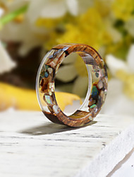 cheap -Men's Women's Ring Resin 1pc Gray Resin Wood Round Natural Boho Gift Jewelry Floral Theme Flower Botanical Cute Lovely