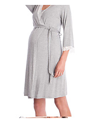 cheap -Women's Above Knee Maternity Wine Blue Dress Basic Tunic Solid Colored Patchwork S M