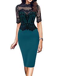 cheap -Women's Plus Size Sheath Dress - Short Sleeve Patchwork Elegant Red Blushing Pink Green S M L XL XXL XXXL XXXXL XXXXXL / Lace