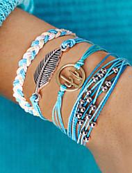 cheap -4pcs Women's Wrap Bracelet Vintage Bracelet Earrings / Bracelet Layered Leaf Cactus Simple Classic Vintage Ethnic Fashion Cord Bracelet Jewelry Blue For Daily School Street Holiday Festival