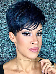 cheap -Human Hair Wig Short Straight Natural Wave Bob Pixie Cut Layered Haircut Asymmetrical Black Life Easy dressing Comfortable Capless Women's All Natural Black 8 inch / Natural Hairline