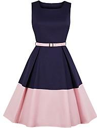 cheap -Women's A Line Dress Blue Blushing Pink Yellow L XL XXL