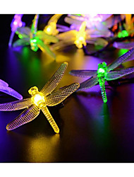 cheap -4m Dragonfly String Lights 20 LEDs 1Set Mounting Bracket Warm White / White / Blue Waterproof / Solar / Christmas Thanksgiving  Holiday Decoration 2 V 1 set