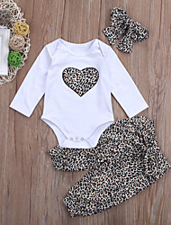 cheap -Baby Girls' Active / Basic Leopard Long Sleeve Short Clothing Set White