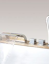 cheap -Bathtub Faucet - Contemporary Chrome Widespread Brass Valve Bath Shower Mixer Taps