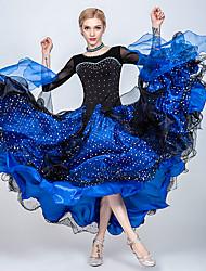 cheap -Ballroom Dance Dresses Women's Training / Performance Tulle / Ice Silk Split Joint / Crystals / Rhinestones / Paillette 3/4-Length Sleeve Dress