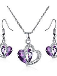 cheap -Women's Bridal Jewelry Sets Retro Heart Sweet Cute Earrings Jewelry Purple / Blue For Party Gift 1 set