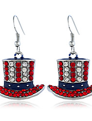 cheap -Women's Cubic Zirconia Earrings Classic American flag Patriotic Jewelry European Trendy Fashion Modern Earrings Jewelry Silver For Gift Daily Street Festival 1 Pair