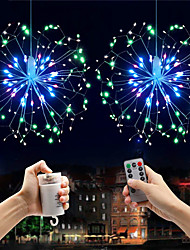 cheap -0.3m Explosion Star Fireworks Effect LED Decorative String Lights 150 LEDs SMD 0603 1 13 Keys Remote Controller Warm White / White / Multi Color Waterproof / Party / Decorative Batteries Powered 2pcs