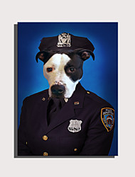 cheap -E-HOME Stretched Canvas Art Cute Animal Series - Police Dog  Decoration Painting  One Pcs