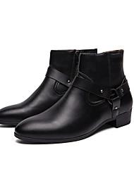 Недорогие -Муж. Армейские ботинки Кожа Наступила зима Ботинки Черный