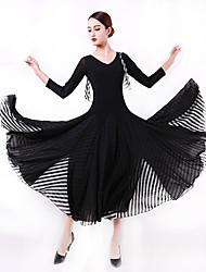cheap -Ballroom Dance Dress Split Joint Women's Training Performance 3/4 Length Sleeve Natural Crystal Cotton Imitation Silk