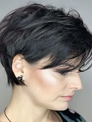 cheap -Human Hair Blend Wig Short Natural Wave Natural Straight Pixie Cut With Bangs Simple Sexy Lady New Capless Women's All Natural Black #1B Brown Grey / African American Wig