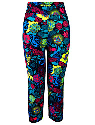 cheap -Women's High Waist Yoga Pants Print Black Light Yellow Brown Red / black Peacock Blue Running Fitness Gym Workout 3/4 Tights 3/4 Capri Pants Sport Activewear Moisture Wicking Butt Lift Tummy Control