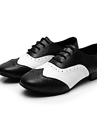 cheap -Men's Modern Shoes / Ballroom Shoes Cowhide Lace-up Heel Thick Heel Customizable Dance Shoes Black-white / Performance / Practice