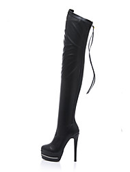 cheap -Women's Boots Stiletto Heel Boots Stiletto Heel Round Toe Faux Leather Over The Knee Boots Classic Fall & Winter Black / Party & Evening / Fashion Boots