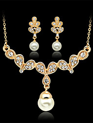 cheap -Women's Drop Earrings Pendant Necklace 3D Flower Stylish Imitation Pearl Rhinestone Gold Plated Earrings Jewelry Gold For Party Festival 1 set