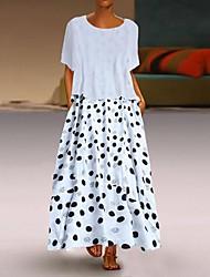 cheap -Women's Basic Two Piece Dress - Maxi Polka Dot White Black Yellow XXXL XXXXL XXXXXL