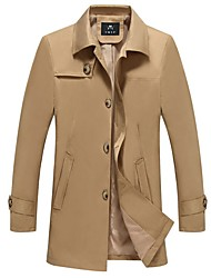 cheap -Men's Daily Long Trench Coat, Solid Colored Shirt Collar Long Sleeve Polyester Black / Navy Blue / Khaki / Slim