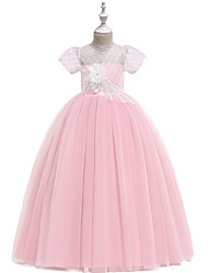 cheap -Ball Gown / Princess Maxi Flower Girl Dress - Tulle / Poly&Cotton Blend Short Sleeve Jewel Neck with Appliques / Lace / Formal Evening
