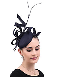 cheap -Linen / Cotton Blend Fascinators / Flowers / Headdress with Feather / Floral 1 Party / Evening / Outdoor / Horse Race Headpiece
