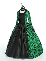cheap -Princess Maria Antonietta Floral Style Rococo Victorian Renaissance Dress Party Costume Masquerade Women's Lace Costume Emerald Green Vintage Cosplay Christmas Halloween Party / Evening 3/4 Length