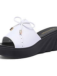 cheap -Women's Slippers & Flip-Flops Slippers Wedge Heel Synthetics Sweet / Minimalism Spring &  Fall / Summer Black / White
