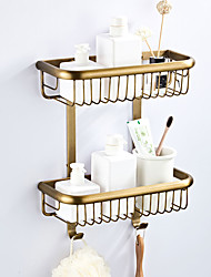 cheap -Bathroom Shelf Multilayer / Premium Design Antique / Country Brass 2pc - Bathroom / Hotel bath Double Wall Mounted