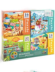 Недорогие -Деревянные пазлы Стикер на двери Геометрический узор Вид на город деревянный 84 pcs Дети Дети (1-4 лет) Все Игрушки Подарок