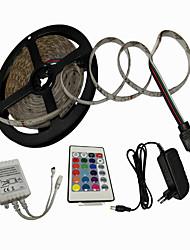 Недорогие -5m RGB полосы света 300 светодиодов SMD 2835 8 мм 1 пульт дистанционного управления 24 ключа / 1 х 2A адаптер питания RGB декоративные / рождественские украшения свадьбы 12 В / 110-240 В 1 комплект