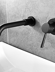 cheap -Bathroom Sink Faucet - Widespread Black Wall Installation Single Handle Two HolesBath Taps