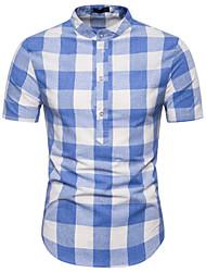 cheap -Men's Daily Cotton Shirt - Check Standing Collar Black / Short Sleeve