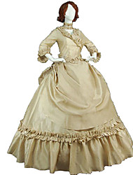 cheap -Princess Maria Antonietta Floral Style Rococo Victorian Renaissance Dress Party Costume Masquerade Women's Lace Costume Beige Vintage Cosplay Christmas Halloween Party / Evening 3/4 Length Sleeve