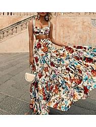 Недорогие -Жен. Макси Из двух частей Платье - Без рукавов На бретелях Kentucky Derby Белый S M L XL XXL XXXL