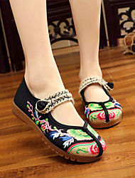 cheap -Women's Flats Flat Heel Round Toe Buckle Canvas Vintage / Casual Spring &  Fall / Spring & Summer Red / Green / Blue