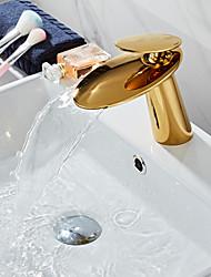 Недорогие -Смеситель - Водопад Золотой По центру Одной ручкой одно отверстиеBath Taps
