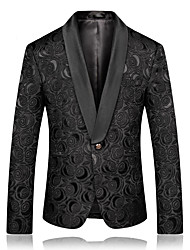 cheap -Men's Shawl Lapel Jacket Regular Solid Colored Party Vintage Black XL XXL 3XL 4XL
