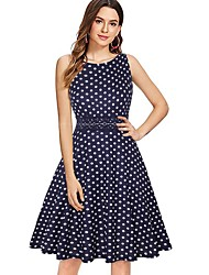 cheap -A-Line Jewel Neck Knee Length Jersey Floral Cocktail Party / Holiday Dress with 2020