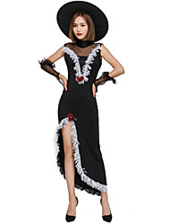 cheap -Witch Dress Cosplay Costume Masquerade Adults' Women's Halloween Christmas Halloween Carnival Festival / Holiday Lace Polyster Black Carnival Costumes Holiday Tassel Halloween