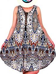 cheap -Women's Basic Loose Sheath Dress - Geometric Floral Patchwork Fashion U Neck Spring Blue Black Red XXXL XXXXL XXXXXL
