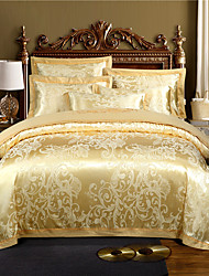 cheap -Luxury Bedding Sets Floral Duvet Cover Sets 4 Piece Satin Embroidery Duvet Cover Set White/Yellow Luxury European Neoclassical Style (1 Duvet Cover, 1 Flat Sheet, 2 Shams)