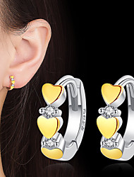 cheap -Women's AAA Cubic Zirconia Hoop Earrings Heart Fashion Cute Silver Earrings Jewelry Yellow For Gift Daily 1 Pair