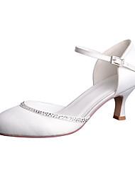 abordables -Femme Chaussures de mariage Rétro Talon Bas Bout rond Strass / Boucle Satin Rétro Vintage Eté / Printemps été Blanc / Bleu de minuit / Bourgogne / Mariage